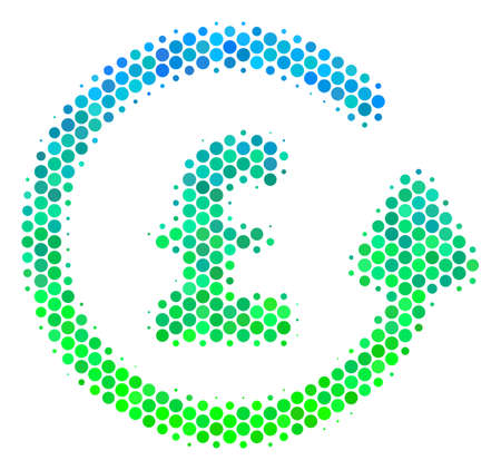 Halftone circle Chargeback Pound icon. Icon in green and blue color tints on a white background. Raster collage of chargeback pound icon composed of spheric pixels. Stock Photo