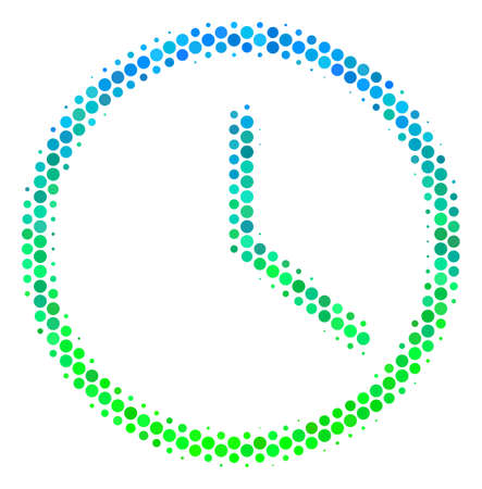 Halftone circle Clock pictogram. Pictogram in green and blue shades on a white background. Raster composition of clock icon designed of spheric items. Stock Photo