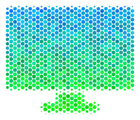 Halftone dot Computer Display icon. Icon in green and blue color tints on a white background. Raster collage of computer display icon composed of circle spots.
