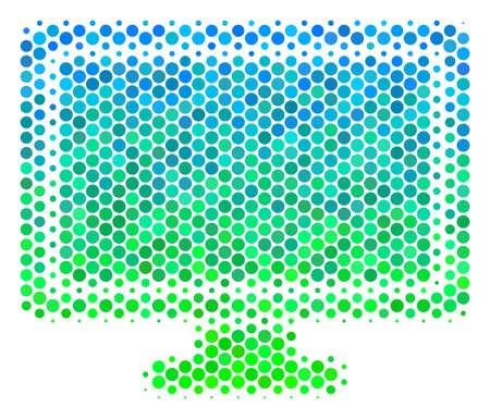 Halftone dot Computer Display icon. Pictogram in green and blue color tinges on a white background. Raster composition of computer display icon constructed of sphere dots.