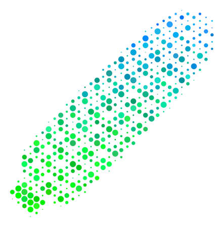 Halftone round spot Corn icon. Pictogram in green and blue color hues on a white background. Raster collage of corn icon done of round elements. 写真素材
