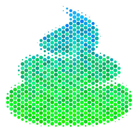 Halftone circle Crap pictogram. Pictogram in green and blue color tints on a white background. Raster pattern of crap icon composed of round dots. Imagens
