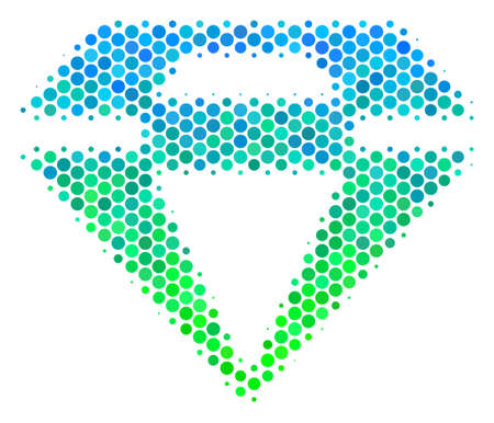 Halftone circle Diamond icon. Pictogram in green and blue color tints on a white background. Raster concept of diamond icon organized of sphere elements.