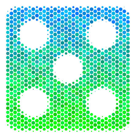 Halftone circle Dice icon. Pictogram in green and blue color hues on a white background. Raster mosaic of dice icon designed of circle items.