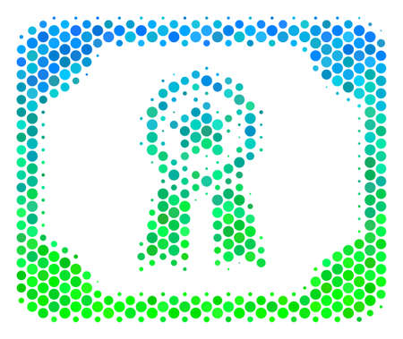 Halftone round spot Diploma icon. Icon in green and blue color hues on a white background. Raster mosaic of diploma icon organized of round dots.