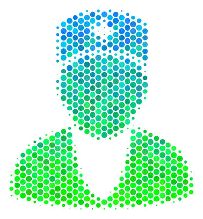 Halftone dot Doctor icon. Icon in green and blue color tinges on a white background. Raster composition of doctor icon composed of circle elements.