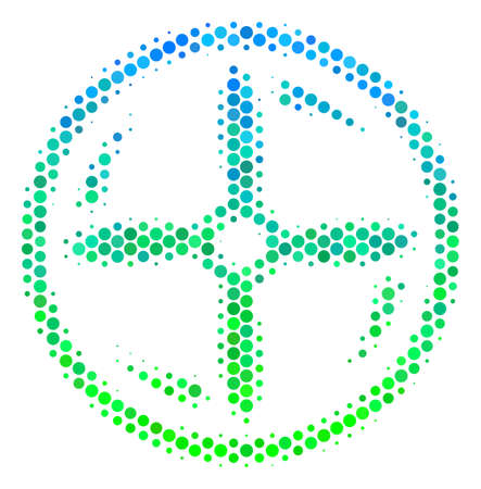 Halftone dot Drone Screw Rotation pictogram. Pictogram in green and blue color tinges on a white background. Raster concept of drone screw rotation icon organized of spheric dots.