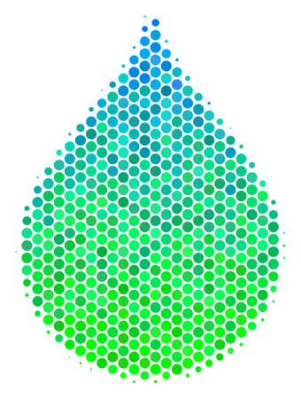 Halftone circle Drop pictogram. Pictogram in green and blue color tinges on a white background. Raster pattern of drop icon composed of round dots. Фото со стока