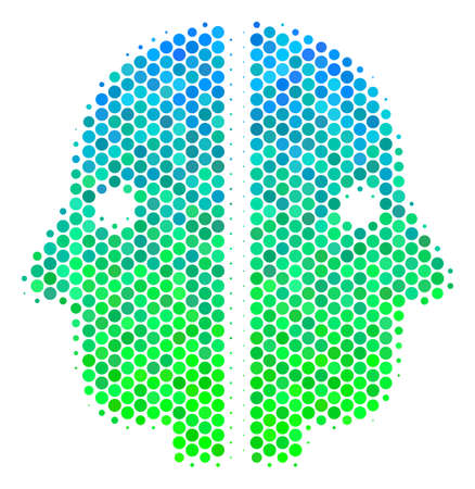 Halftone circle Dual Face pictogram. Icon in green and blue color hues on a white background. Raster composition of dual face icon constructed of circle elements.