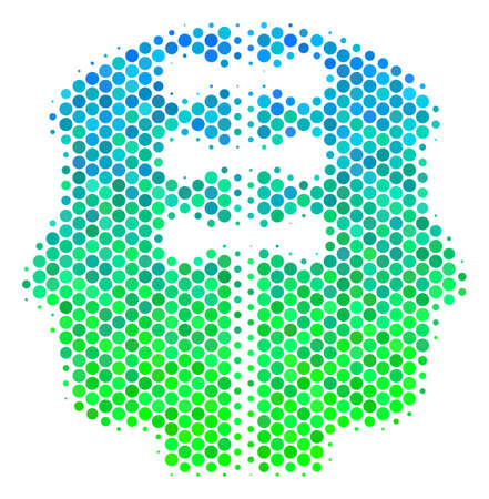 Halftone circle Dual Head Interface pictogram. Icon in green and blue color tints on a white background. Raster concept of dual head interface icon designed of round blots.