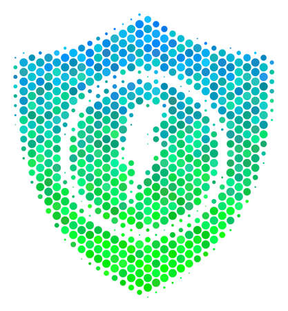 Halftone round spot Electric Guard icon. Pictogram in green and blue color tinges on a white background. Raster concept of electric guard icon designed of spheric dots.