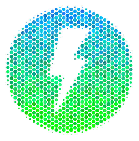 Halftone circle Electricity icon. Icon in green and blue color tones on a white background. Raster collage of electricity icon combined of spheric items.