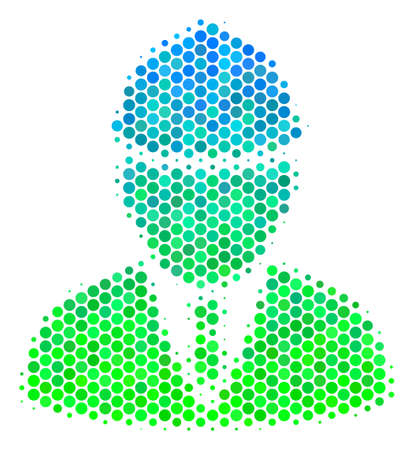 Halftone round spot Engineer pictogram. Icon in green and blue color hues on a white background. Raster pattern of engineer icon done of spheric dots.