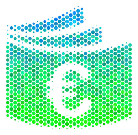 Halftone round spot Euro Checkbook icon. Pictogram in green and blue color tones on a white background. Raster pattern of euro checkbook icon made of sphere items.
