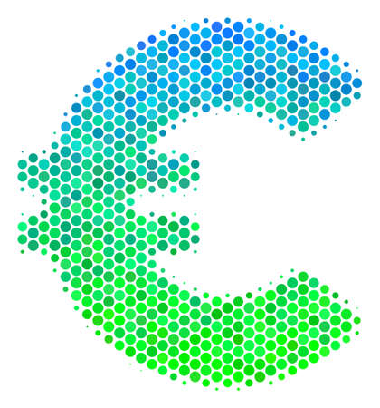 Halftone round spot Euro icon. Icon in green and blue color hues on a white background. Raster collage of euro icon combined of sphere dots.