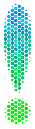 Halftone round spot Exclamation Sign icon. Icon in green and blue color tinges on a white background. Raster pattern of exclamation sign icon organized of sphere dots. Stok Fotoğraf