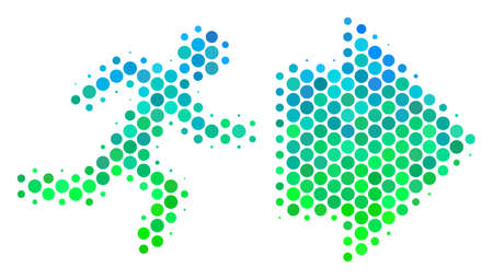 Halftone round spot Exit Direction pictogram. Pictogram in green and blue color tones on a white background. Raster concept of exit direction icon done of round items.