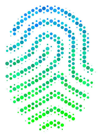Halftone round spot Fingerprint icon. Pictogram in green and blue shades on a white background. Raster composition of fingerprint icon designed of circle elements.