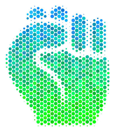 Halftone circle Fist icon. Icon in green and blue color tones on a white background. Raster mosaic of fist icon done of round items. Stock Photo