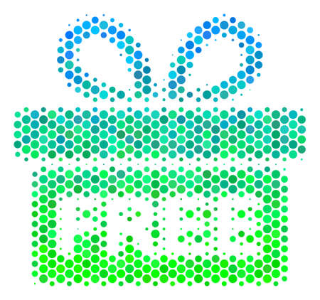 Halftone circle Free Gift pictogram. Icon in green and blue shades on a white background. Raster pattern of free gift icon done of round dots.