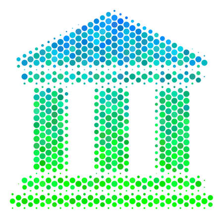 Halftone round spot Library Building pictogram. Pictogram in green and blue shades on a white background. Raster composition of library building icon done of round spots.