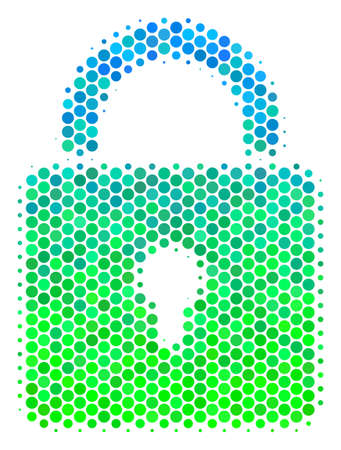 Halftone dot Lock icon. Icon in green and blue color tinges on a white background. Raster concept of lock icon constructed of spheric items.