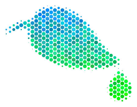 Halftone circle Natural Leaf With Drop pictogram. Icon in green and blue color hues on a white background. Raster pattern of natural leaf with drop icon made of round elements. 스톡 콘텐츠