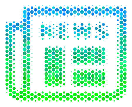 Halftone dot Newspaper icon. Pictogram in green and blue color tinges on a white background. Raster composition of newspaper icon created of spheric pixels. Stock Photo