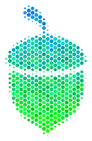 Halftone circle Oak Acorn icon. Icon in green and blue color tints on a white background. Raster collage of oak acorn icon organized of spheric pixels.