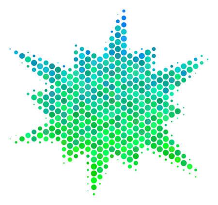 Halftone circle Bang pictogram.