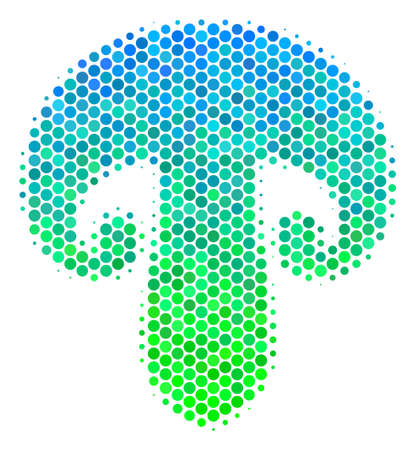 Halftone round spot Champignon Mushroom icon in green and blue color hues on a white