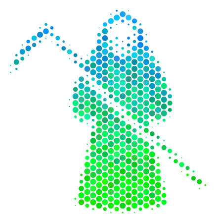 Halftone circle death scytheman pictogram in green and blue color hues on a white background. Pattern vector of death scytheman icon organized of sphere dots.