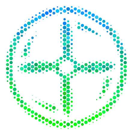 Halftone round spot Drone Screw Rotation icon. Illustration