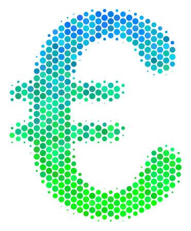 Halftone dot Euro Symbol icon.