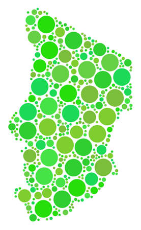 Chad Map composition of randomized filled circles in various sizes and ecological green color tints. Vector small spheres are grouped into chad map illustration.