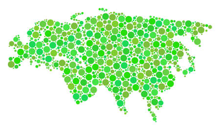 Europe And Asia Map composition of random circle elements in various sizes and fresh green color tints. Vector small spheres are united into europe and asia map illustration. Illustration