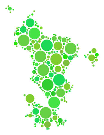 Mayotte Island Map composition of scattered circle elements in different sizes and fresh green color tones. Vector spheric items are grouped into Mayotte island map collage.