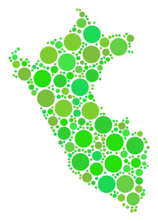 Peru Map composition of random circle elements in different sizes and green color tones. Vector small spheres are combined into peru map collage. Ecology geographical map vector illustration. Illustration