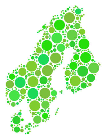 Scandinavia Map composition of scattered filled circles in different sizes and eco green color tones. Vector circle elements are united into scandinavia map mosaic.