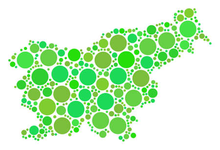 Slovenia Map mosaic of scattered filled circles in various sizes and eco green color tints. Vector dots are combined into slovenia map collage. Eco geographic map design concept.