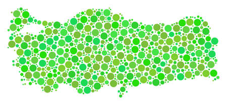 Turkey Map composition of scattered circle elements in variable sizes and fresh green color tints. Vector spheric items are organized into turkey map composition.
