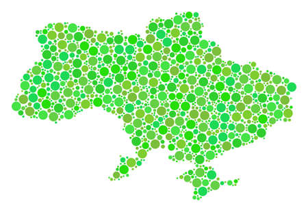 Ukraine Map With Crimea composition of scattered circle elements in different sizes and eco green color hues. Vector round elements are united into ukraine map with crimea mosaic.