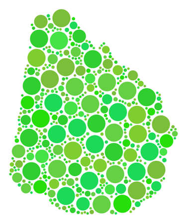 Uruguay Map composition of random circle elements in various sizes and fresh green color tints. Vector dots are grouped into uruguay map illustration. Eco geographical map vector illustration.