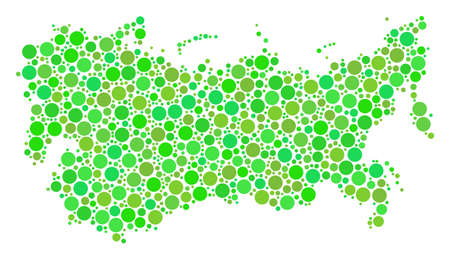 USSR Map composition of scattered dots in various sizes and fresh green color hues. Vector dots are combined into ussr map mosaic. Ecology geography map vector illustration.