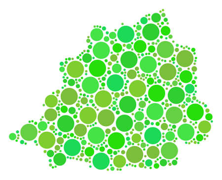 Vatican Map composition of randomized filled circles in different sizes and eco green color tinges. Vector round elements are grouped into vatican map collage. Ilustrace