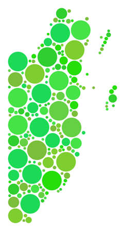 Belize Map composition of randomized dots in different sizes and fresh green color hues. Vector round elements are united into belize map illustration. Ecological geographical map design concept.