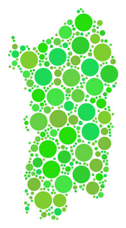 Italian Sardinia Island Map collage of scattered circle elements in various sizes and fresh green color tints. Vector round elements are grouped into italian sardinia island map composition. Ilustração
