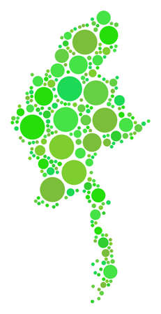 Myanmar Map composition of random filled circles in different sizes and ecological green color tints. Vector small spheres are grouped into myanmar map mosaic.