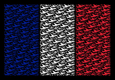 France State Flag mosaic combined of aiplane design elements. Vector aiplane pictograms are organized into conceptual France flag composition on a black background.