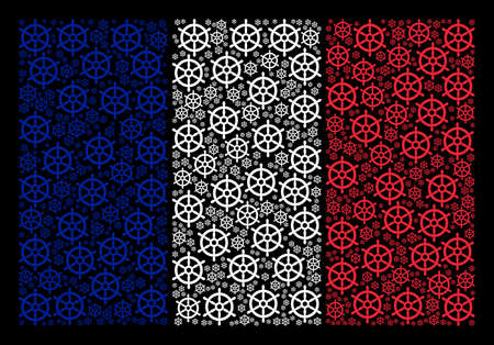 France National Flag collage designed of boat steering wheel design elements. Vector boat steering wheel elements are united into geometric France flag collage on a black background.